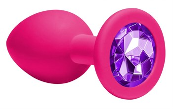 Средняя розовая анальная пробка Emotions Cutie Medium с фиолетовым кристаллом - 8,5 см.