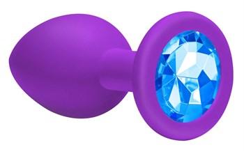 Средняя фиолетовая анальная пробка Emotions Cutie Medium с голубым кристаллом - 8,5 см.
