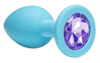Средняя голубая анальная пробка Emotions Cutie Medium с фиолетовым кристаллом - 8,5 см.