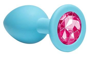 Средняя голубая анальная пробка Emotions Cutie Medium с розовым кристаллом - 8,5 см.