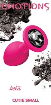 Малая розовая анальная пробка Emotions Cutie Small с чёрным кристаллом - 7,5 см.