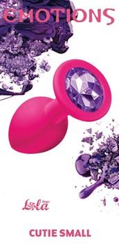 Малая розовая анальная пробка Emotions Cutie Small с фиолетовым кристаллом - 7,5 см.