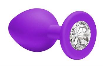 Малая фиолетовая анальная пробка Emotions Cutie Small с прозрачным кристаллом - 7,5 см.