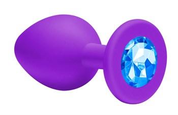 Малая фиолетовая анальная пробка Emotions Cutie Small с голубым кристаллом - 7,5 см.