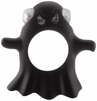Чёрное эрекционное виброкольцо Gentle Ghost Cockring в виде привидения
