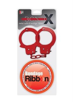 Набор для фиксации BONDX METAL CUFFS AND RIBBON: красные наручники из листового материала и липкая лента