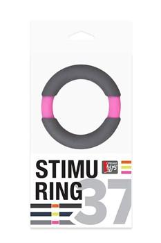 Серое эрекционное кольцо NEON STIMU RING 37MM GREY/PINK