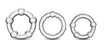 Набор из 3 прозрачных эрекционных колец Stay Hard Beaded Cockrings