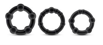 Набор из 3 чёрных эрекционных колец Stay Hard Beaded Cockrings