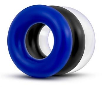 Набор из 3 разноцветных колец Stay Hard Donut Rings