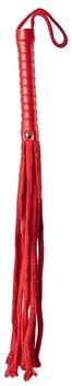 Красная веревочная плеть с ручкой из полиуретана Cotton String Flogger - 50 см.