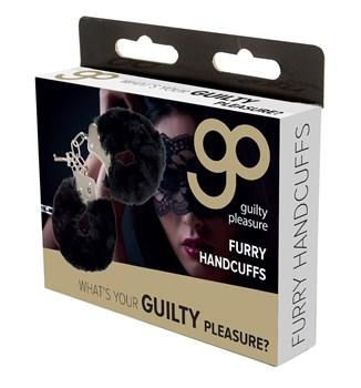 Чёрные меховые наручники с ключиками Furry Handcuffs