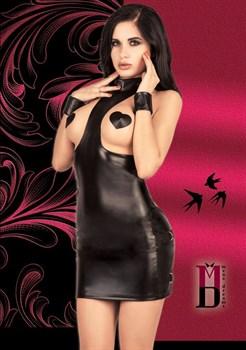 Платье с открытой грудью из материала под кожу