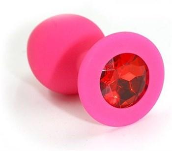 Розовая силиконовая анальная пробка с красным кристаллом - 7 см.