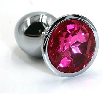 Серебристая алюминиевая анальная пробка с ярко-розовым кристаллом - 7 см.