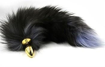 Золотистая алюминиевая анальная пробка с чёрным хвостом из натурального меха