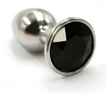 Серебристая алюминиевая анальная пробка с чёрным кристаллом - 7 см.