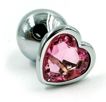 Серебристая анальная пробка с розовым кристаллом-сердцем - 6 см.