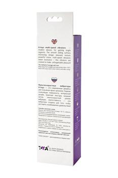 Фиолетовый вибратор с утолщением посередине и клиторальным зайчиком - 18 см.