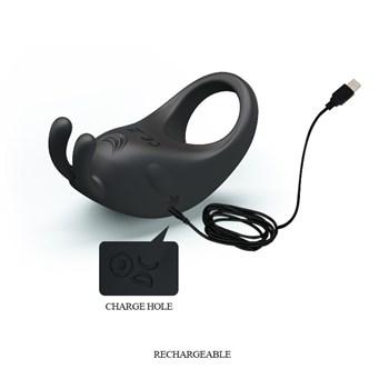 Чёрное эрекционное кольцо с вибрацией Rabbit Vibrator