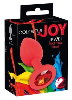 Красная силиконовая анальная пробка с красным кристаллом Joy - 7,2 см.