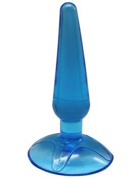 Голубая анальная пробка Butt Plug на присоске - 11 см.