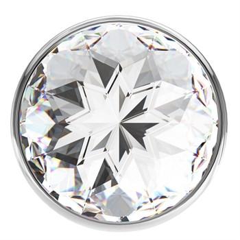 Малая серебристая анальная пробка Diamond Clear Sparkle Small с прозрачным кристаллом - 7 см.