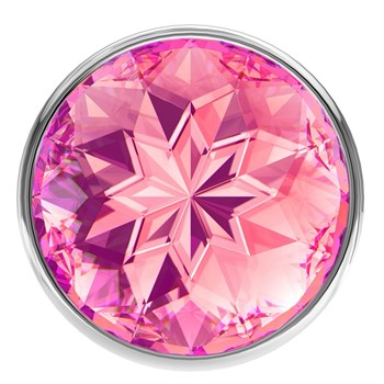 Малая серебристая анальная пробка Diamond Pink Sparkle Small с розовым кристаллом - 7 см.