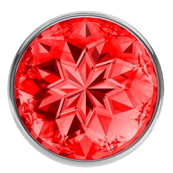 Малая серебристая анальная пробка Diamond Red Sparkle Small с красным кристаллом - 7 см.