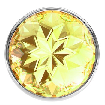 Малая серебристая анальная пробка Diamond Yellow Sparkle Small с жёлтым кристаллом - 7 см.