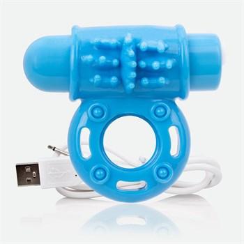 Голубое перезаряжаемое эрекционное виброкольцо CHARGED O WOW RING