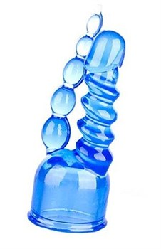 Синяя двойная насадка для массажера Magic Wand