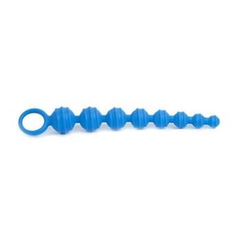 Синяя анальная цепочка Climax Anal Anal Beads Silicone Ridges - 32,6 см.