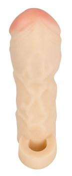 Закрытая удлиняющая насадка на пенис с подхватом мошонки Thicker   Bigger Extension - 17 см.