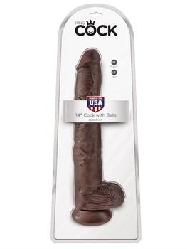 Коричневый фаллоимитатор-гигант 14  Cock with Balls - 37,5 см.