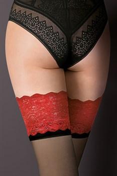 Чулки Victoria с кружевной резинкой и матовой полосой под ней