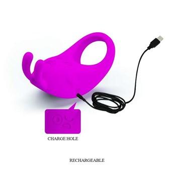 Лиловое эрекционное кольцо с вибрацией Rabbit Vibrator