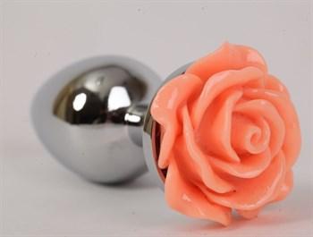 Серебристая анальная пробка с оранжевой розой - 9 см.