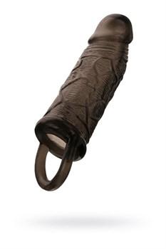 Чёрная насадка на пенис с подхватом мошонки