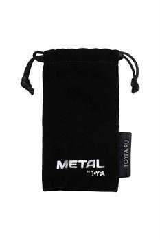 Серебристый анальный плаг с черным кристаллом-сердцем - 8,5 см.
