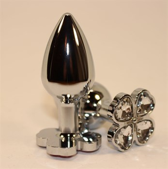 Серебристая пробка с цветком из прозрачных сердечек - 7 см.