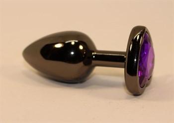 Чёрная анальная пробка с фиолетовым стразом - 7 см.