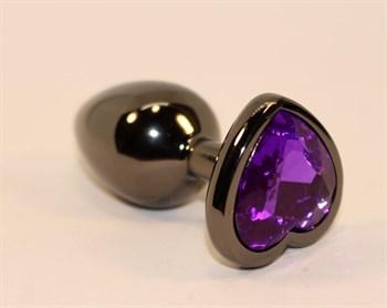 Чёрная анальная пробка с фиолетовым кристаллом-сердцем - 8 см.