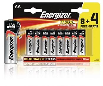 Батарейки Energizer Max E91/АА 1.5V - 8+4 шт.