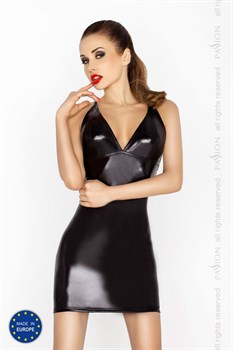 Строгое платье с открытой спиной и wet-блеском Hellen