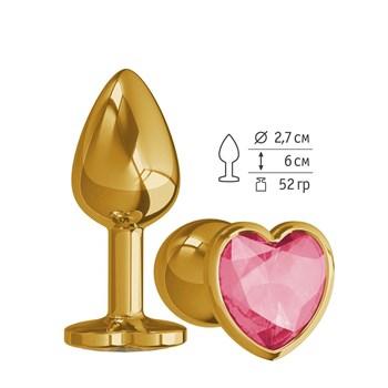 Золотистая анальная втулка с малиновым кристаллом-сердцем - 7 см.