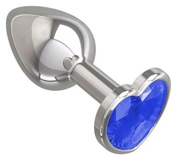 Серебристая анальная втулка с синим кристаллом-сердцем - 7 см.