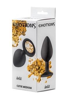 Чёрная анальная пробка Emotions Cutie Medium с желтым кристаллом - 8,5 см.