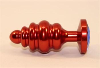 Красная фигурная пробка с синим стразом - 7,3 см.