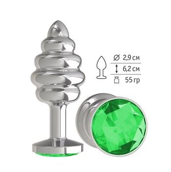 Серебристая пробка с рёбрышками и зеленым кристаллом - 7 см.